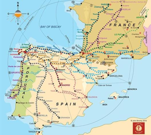 Map of the the network of the Camino de Santiago